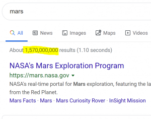 Search Engine Results Page showing Mars